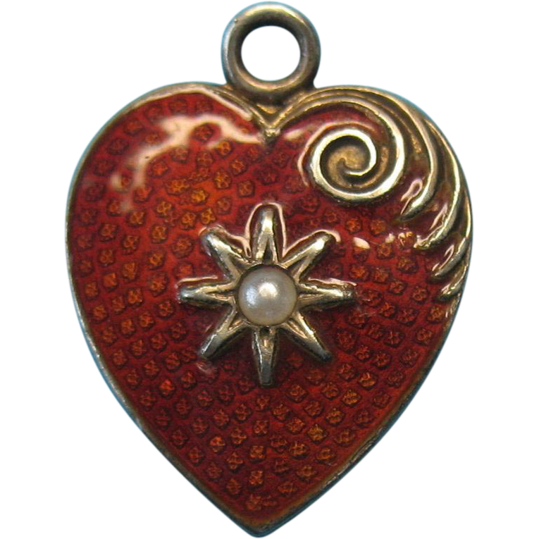 Victorian Silver Red Orange Guilloche Enamel Seed Pearl Heart Charm