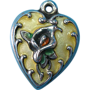 Vintage Sterling Silver Enamel Lily Puffy Heart Charm Rare Yellow 1940s
