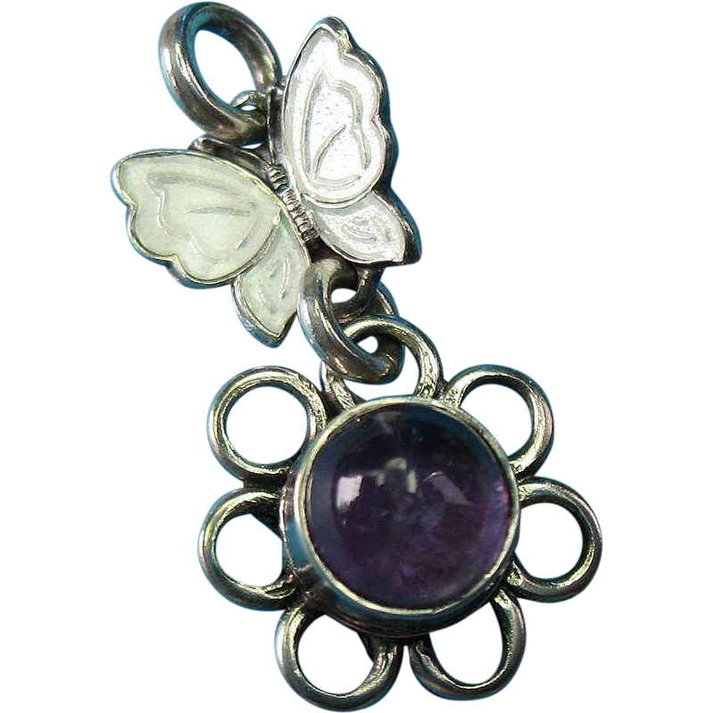 Vintage Sterling Silver White Enamel Butterfly  and Flower with Center Purple Amethyst Stone