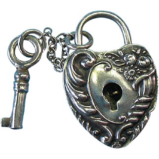 Victorian Sterling Silver Rare Floral Cornucopia Puffy Heart Padlock Charm with Key