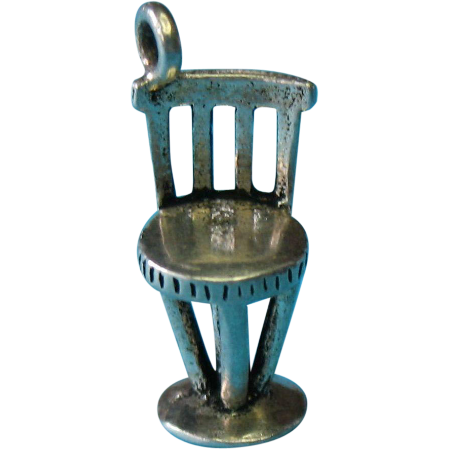 Vintage Sterling Silver Oxidized Chair Bar Stool Charm