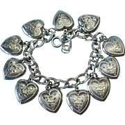 Victorian Silver Bracelet with Rare Rose Flower Walter Lampl Puffy Heart Charms