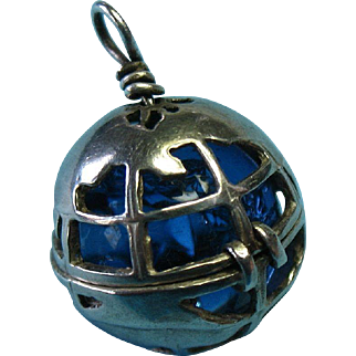 Vintage Sterling Silver Rare Opening Earth Charm with Ocean Blue Crackled Crystal
