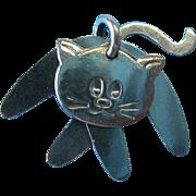 Vintage Sterling Three Piece Cat Slider Necklace Pendant Charm