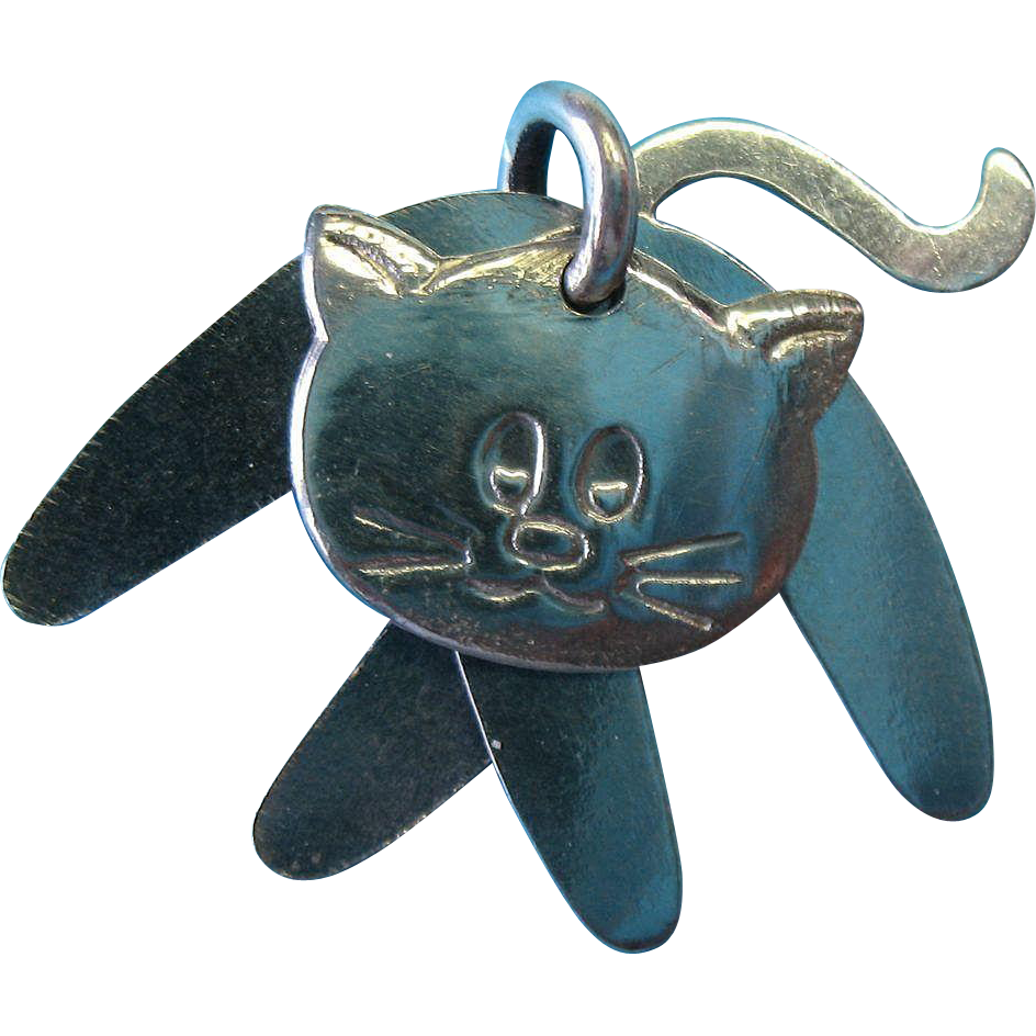 Vintage Sterling Three Piece Cat Slider Necklace Pendant Charm