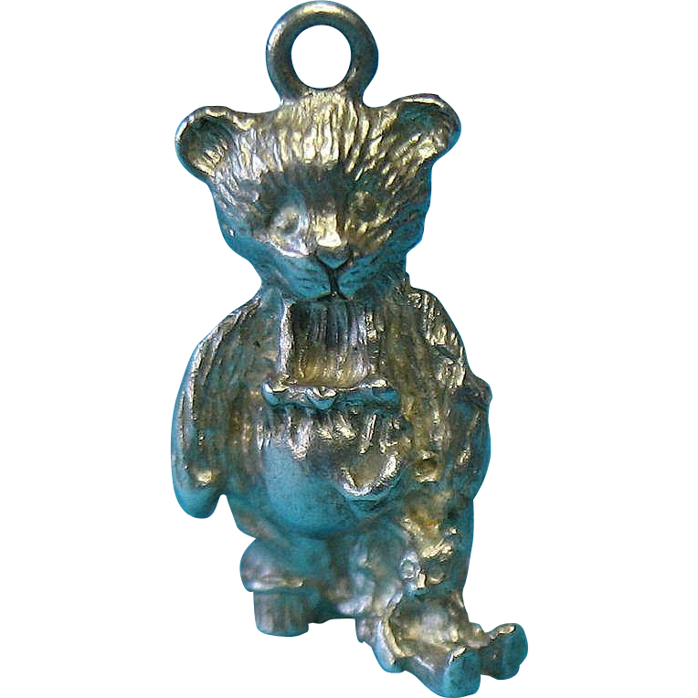 Vintage Sterling Rare Bear Charm Wearing Overalls and Carrying a Teddy Bear