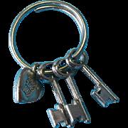 Vintage Sterling Silver WELLS Skeleton Key Charms