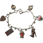 Vintage Sterling Silver Key Link Bracelet with Romance Theme Charms
