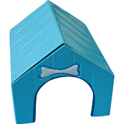 Miniature Enamel Tin Dog House with Bow Dog Bone
