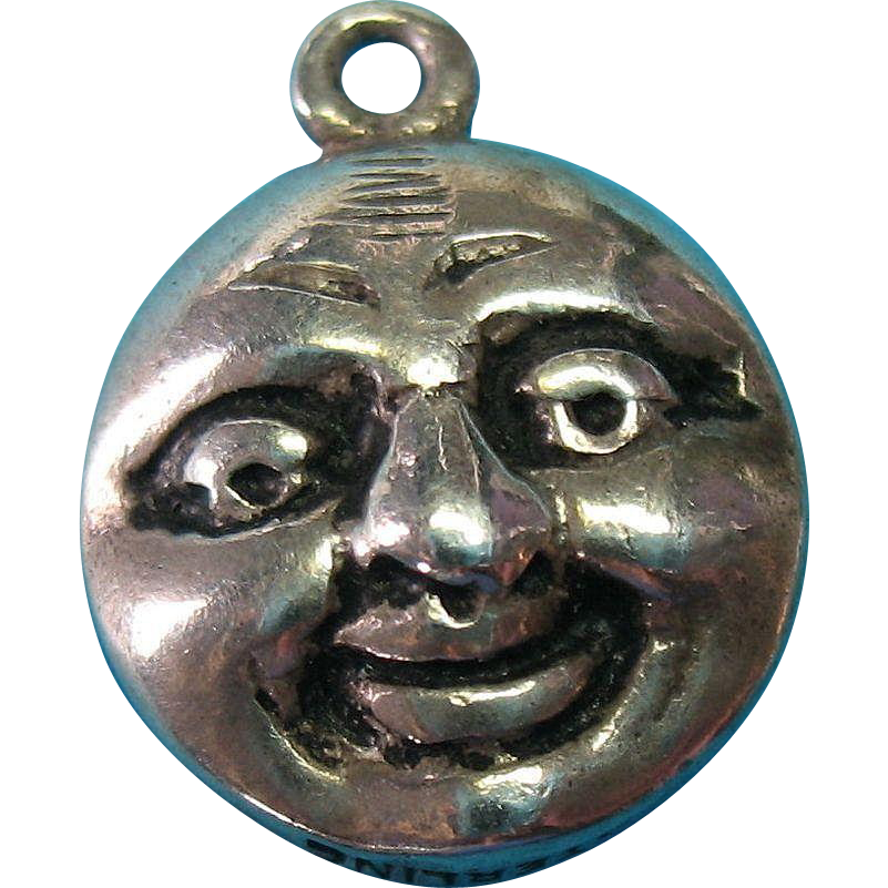 Vintage Sterling Silver 1940s Double Faced Moon Charm Rare