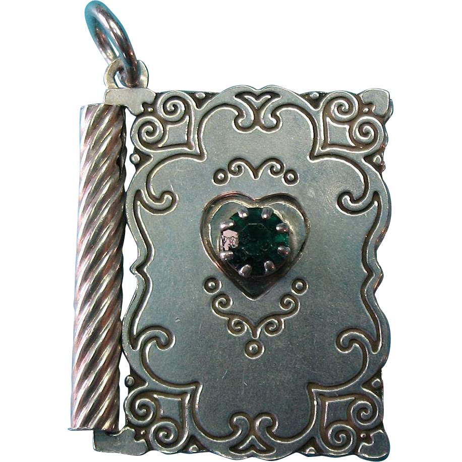 "Vintage Sterling Silver Book Charm Pendant Opens to ""With Love"" and a Green Rhinestone"
