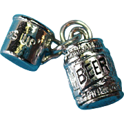 "Vintage Silver Beer Keg and Mug Charm ""Bottoms Up"""