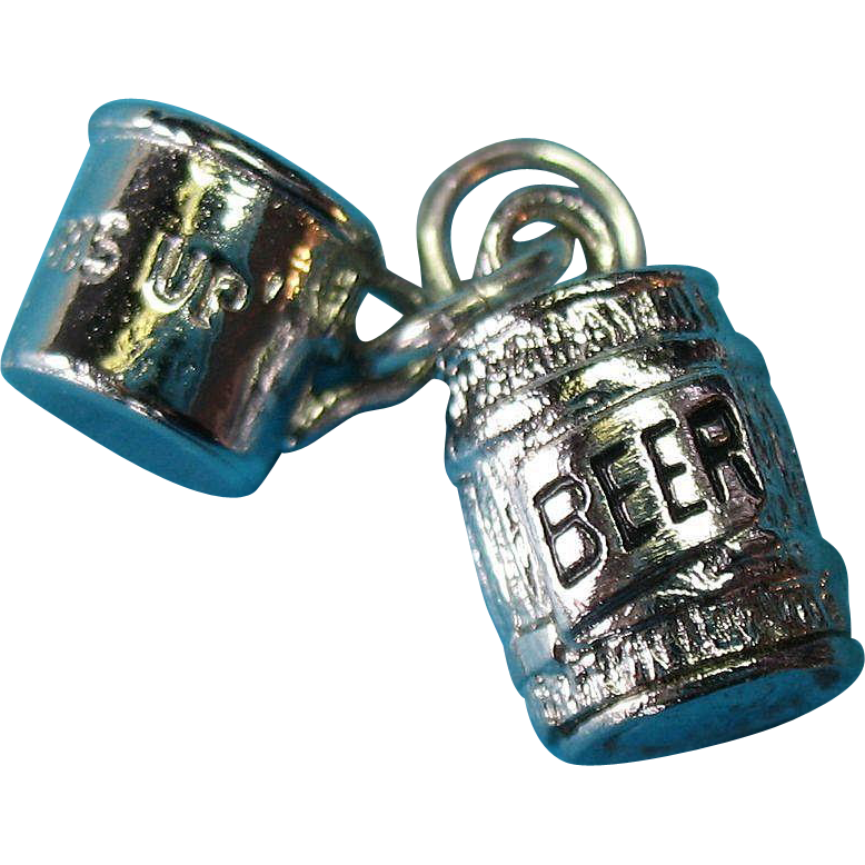 "Vintage Silver Beer Keg and Mug Charm ""Bottoms Up"""
