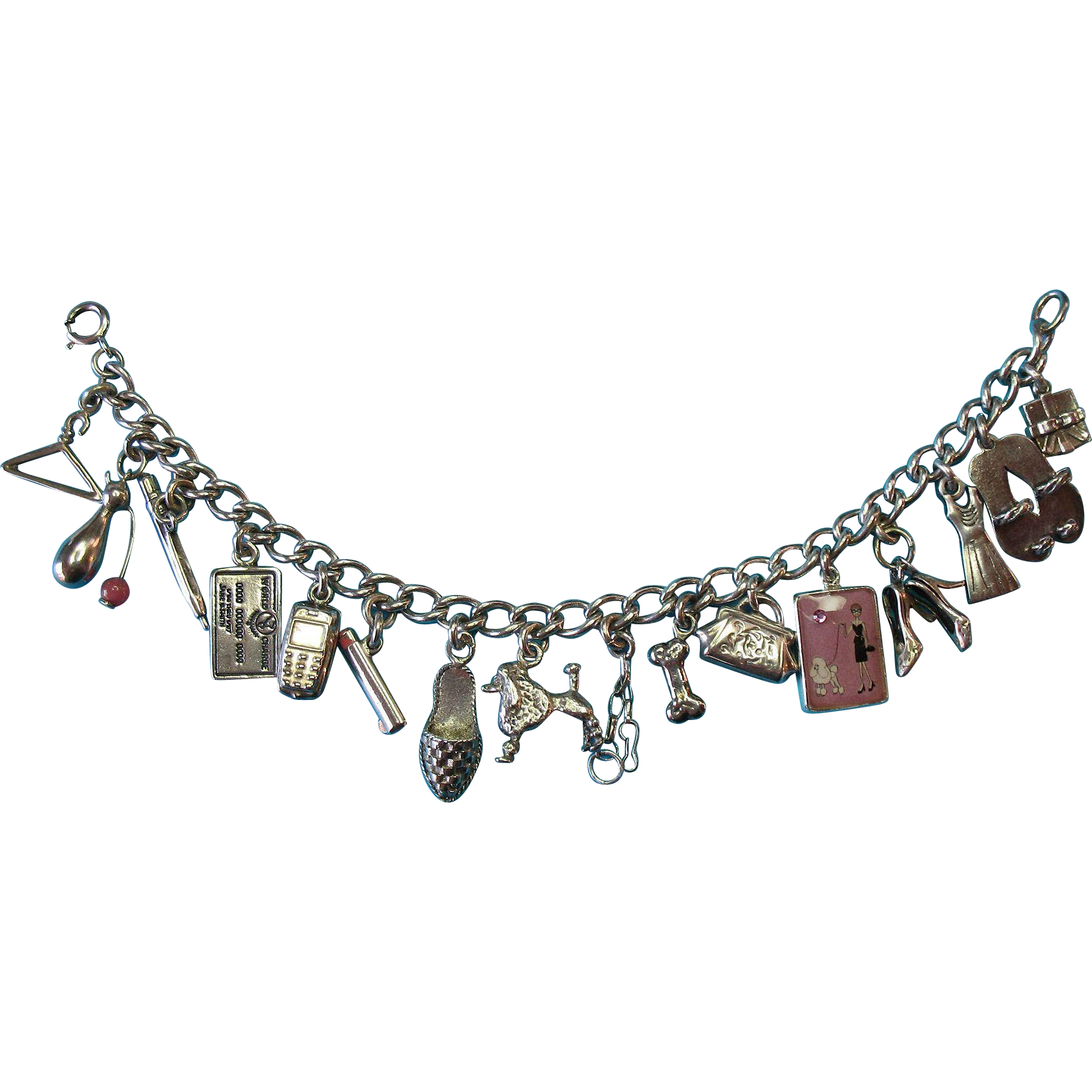 Vintage Sterling Silver Shopping and Walking the Dog Theme Charm Bracelet