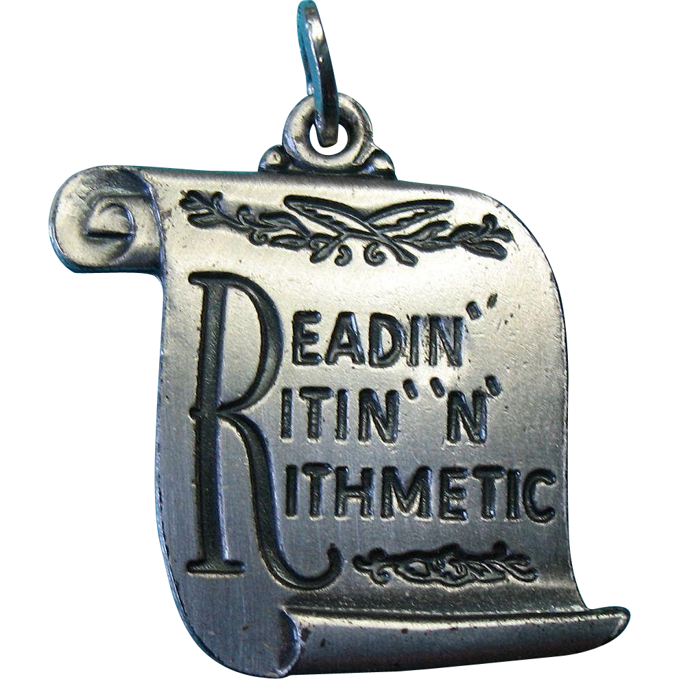 "Vintage Beau c1950 Sterling ""Readin-Ritin-N-Rithmetic"" Award Charm Satin Finish"