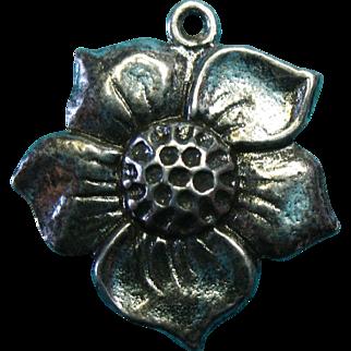 Vintage Sterling Oxidized Flower Bracelet Charm