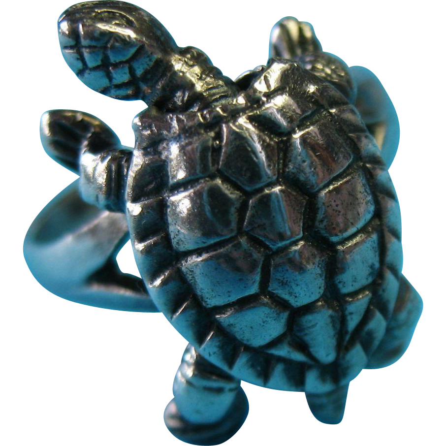 Vintage Sterling Silver Moving Turtle Ring Size 7