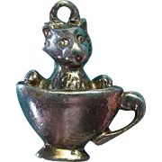 Vintage Sterling Silver Rare 1940s Kitten Sitting in Teacup Charm