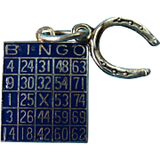 Vintage BEAU Sterling Silver Enameled Bingo Card and Lucky Horseshoe Charm