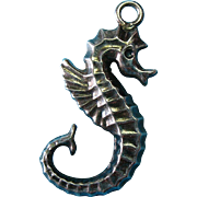 Vintage Sterling Silver Oxidized Seahorse Charm Pendant