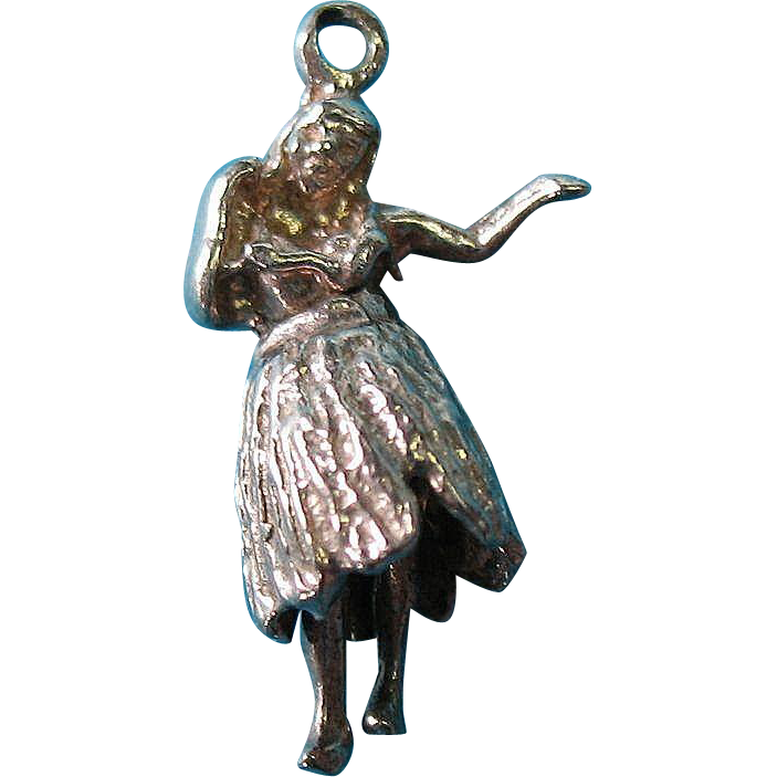 Vintage Sterling Silver Moving Hawaiian Dancer Charm