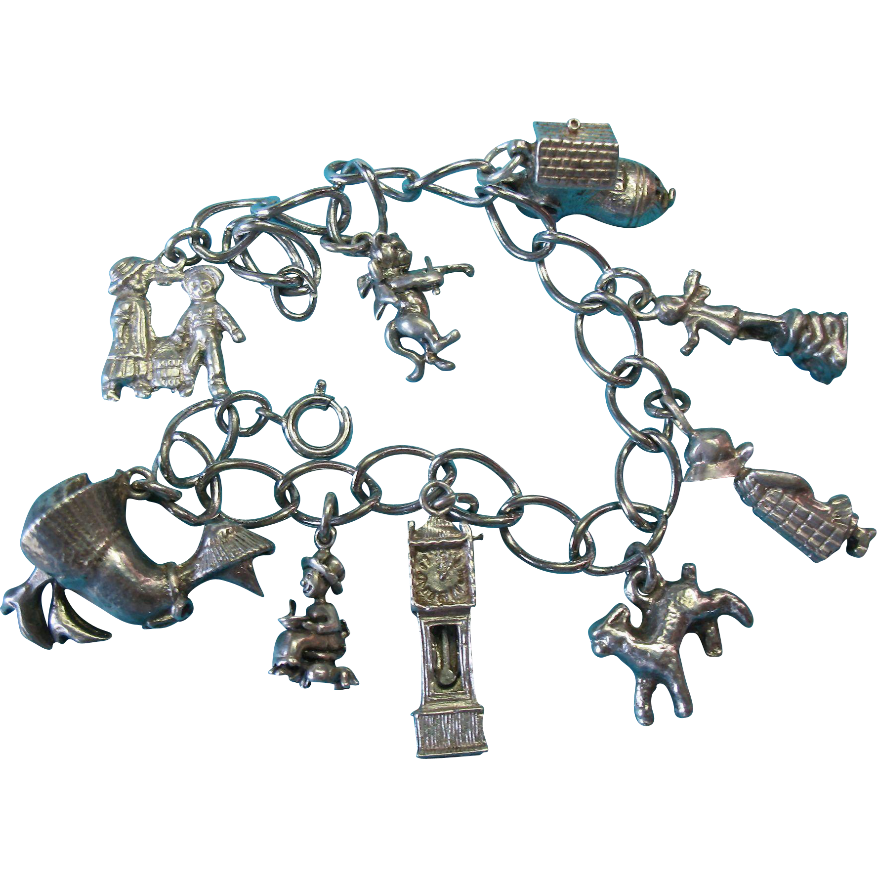 Vintage Sterling Silver Nursery Rhyme Charm Bracelet