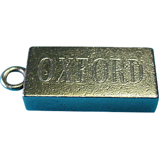 Vintage English Sterling Silver OXFORD Ingot Fob Charm Pendant