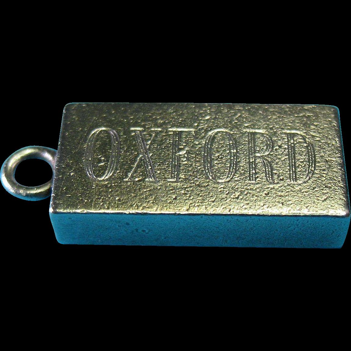 Vintage English Sterling Silver OXFORD Ingot Fob Charm Pendant