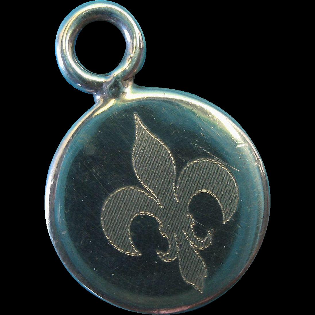 Vintage Sterling Silver Etched Fleur de Lis Pendant Charm 1940s