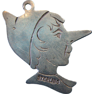 Antique Mid 1800s Sterling Silver Pinocchio Charm RARE