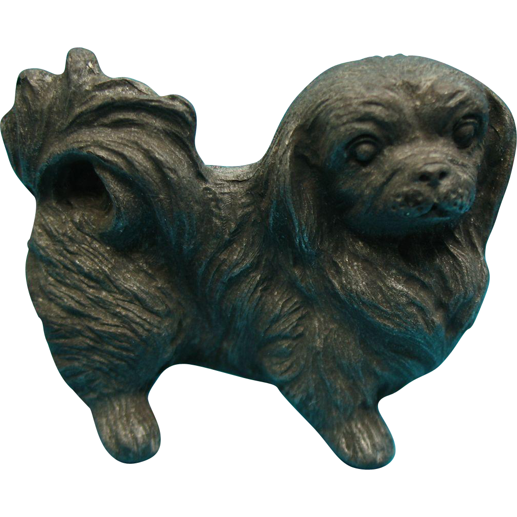 Dollhouse Miniature Pekingese Dog Figurine 1970s Spoontiques Pewter #62