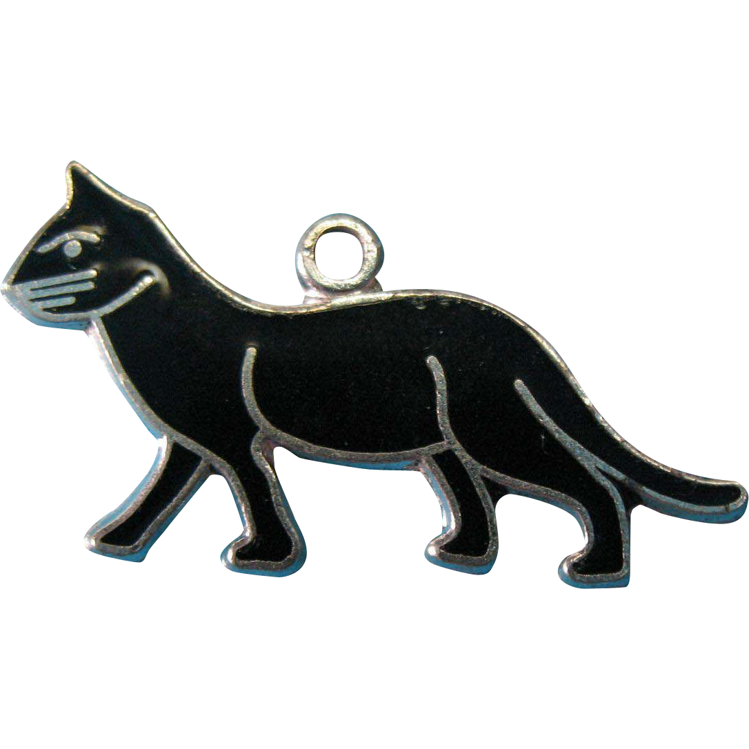Vintage Silver Enamel Black Cat Charm by WELLS