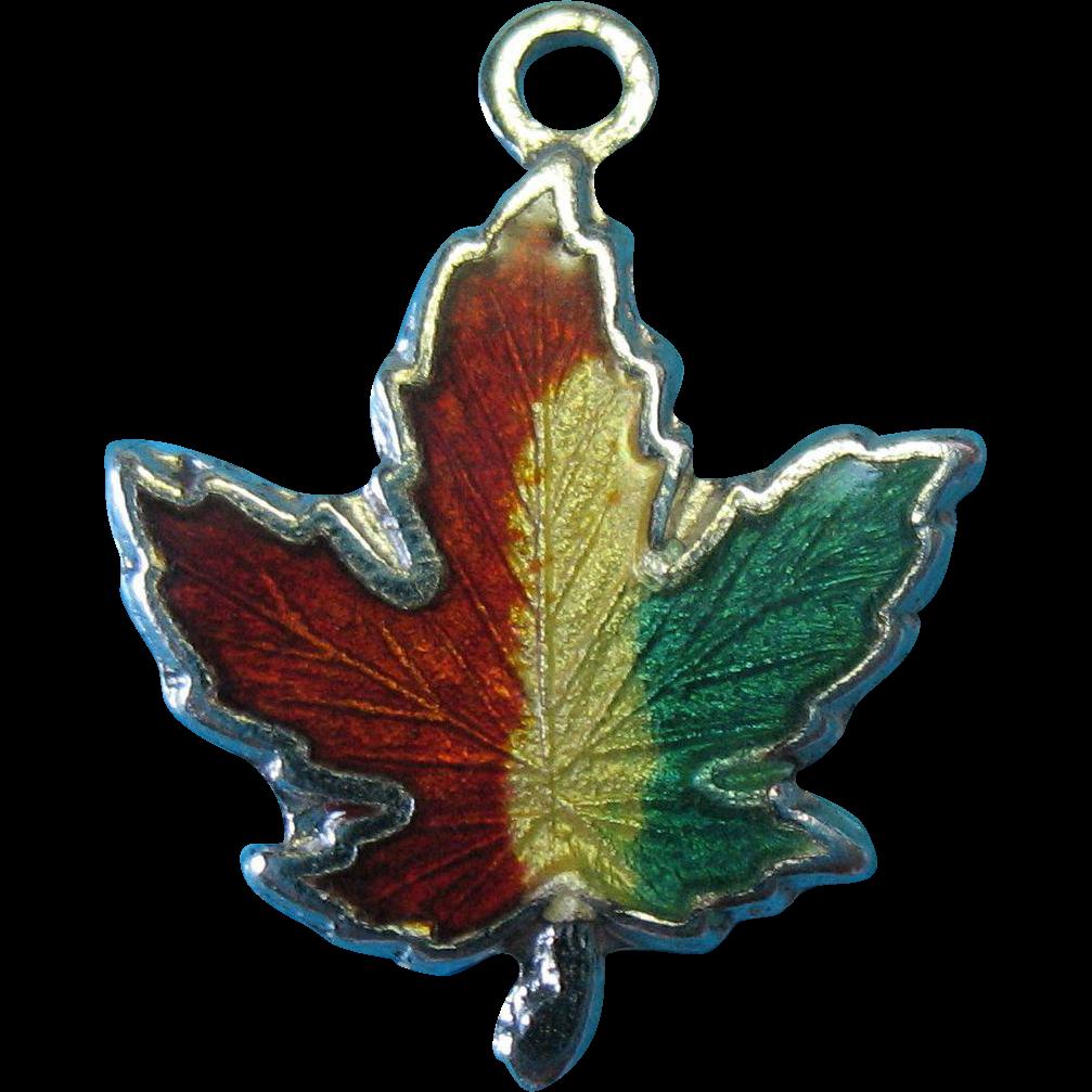Vintage Sterling Silver Enamel Fall Leaf Bracelet Charm