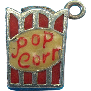 Vintage Sterling Silver Enameled Theater Pop Corn Box Bracelet Charm