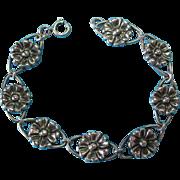Vintage Oxidized Sterling Silver Pressed Flower Bracelet