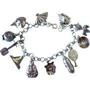Vintage Silver Japanese Themed Charm Bracelet