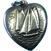 Vintage Sterling Sailboat Racing Puffy Heart Charm Pendant