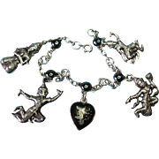 Vintage Sterling Niello Charm Bracelet c1940s Siam