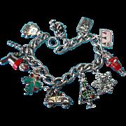 Vintage Sterling & Enamel Christmas Theme Charm Bracelet
