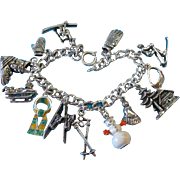 Vintage Sterling Silver Fun in The Winter Snow Charm Bracelet