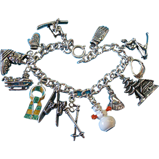 Vintage Sterling Silver Fun in The Winter Snow Charm Bracelet
