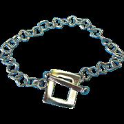 """Vintage 1980's Square Link and Toggle Bracelet 7 1/2"""""""