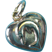 Vintage Sterling Silver Nautical-Ocean Dolphin or Porpoise Puffy Heart Charm