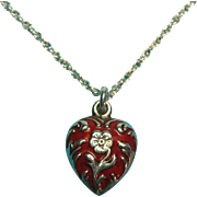 Victorian Sterling Silver Red Enamel Solid Puffy Heart Charm Necklace