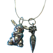 Vintage Sterling Silver c1960 Bunny Rabbit and Carrot Charm Necklace Pendant