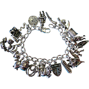 Vintage Sterling Silver Pirate Theme Charm Bracelet