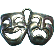 Vintage Sterling Silver Theater Drama Mask Charm