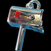 Vintage Sterling Silver Enamel Mailbox Charm