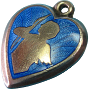 Sterling Guilloche Enamel Cupid Heart Charm with a Question Mark on the Backside