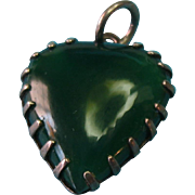 Vintage Sterling Silver Dyed Moss Green Real Agate Stone Heart Charm